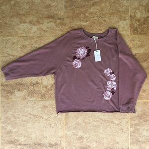 Luck Brand Raglan Embroidered Fleece Sweatshirt XL